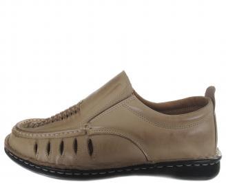 Мъжки обувки бежови естествена кожа APKX-19146