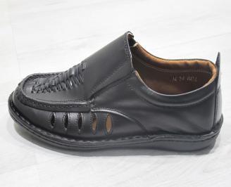Мъжки обувки черни естествена кожа MHKD-23839