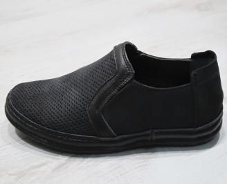 Мъжки обувки черни естествен набук HLQF-24294