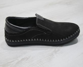 Мъжки обувки черни естествен набук FCQE-24307