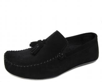 Мъжки обувки черни естествен велур MPKF-18767