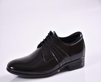 Мъжки обувки черни естествена кожа/лак ZKNO-18862