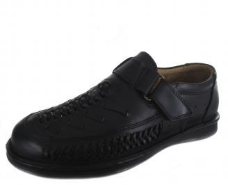 Мъжки обувки черни естествена кожа IQUW-19108