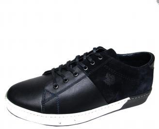 Мъжки обувки естествена кожа тъмно сини IHEJ-21808