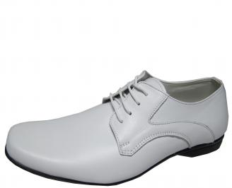 Мъжки обувки естествена кожа бели KSIT-21876