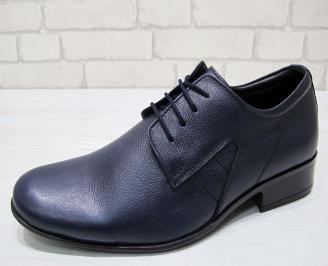 Мъжки обувки естествена кожа тъмно сини ZKNJ-23002