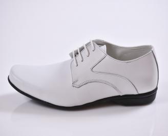 Мъжки обувки естествена кожа бели DLEY-23470