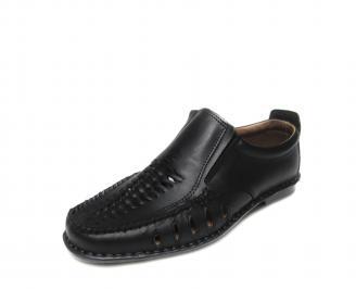 Мъжки обувки естествена кожа черни QHXA-16552