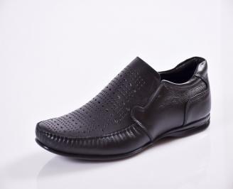 Мъжки обувки естествена кожа черни MOVX-16851