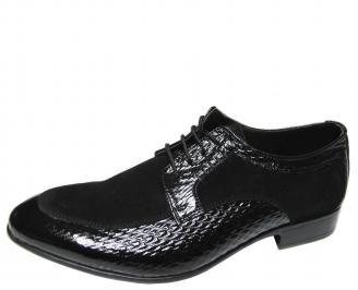Мъжки обувки естествена кожа с лаково покритие черни XGES-18500