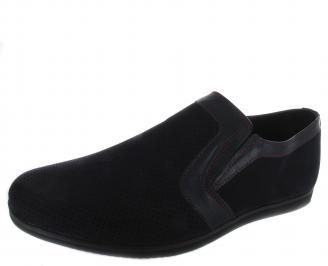 Мъжки обувки естествена кожа тъмно сини HQXK-19655