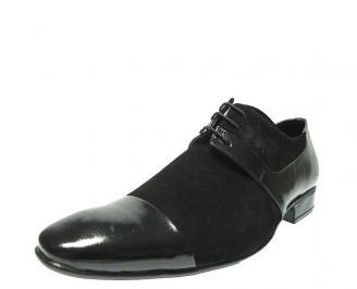 Мъжки обувки официални естествен велур черни NKDW-11698