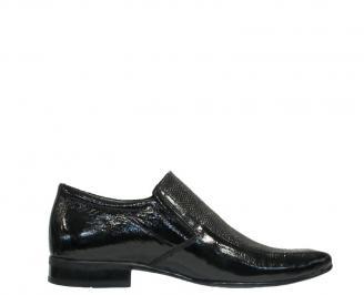 Мъжки обувки официални естествена кожа/лак черни UTUU-10172