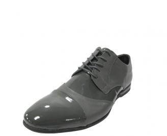 Мъжки обувки официални естествена кожа сиви LHHD-11885