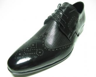 Мъжки обувки официални естествена кожа/лак черни TVGN-14080