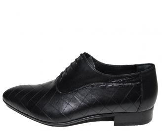Мъжки обувки официални естествена кожа черни RAAK-15788