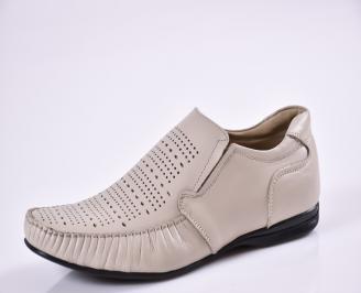Мъжки обувки официални бежови естествена кожа WXPM-16854