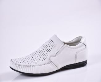 Мъжки обувки официални естествена кожа бели RPNL-16855