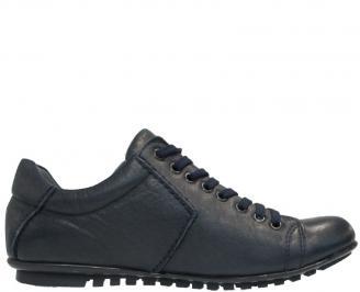 Мъжки обувки от естествена кожа сини QJVN-10118