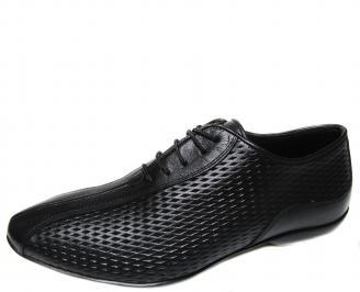 Мъжки обувки от естествена кожа черни LZJP-10149