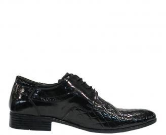Мъжки обувки от естествена кожа/лак официални черни KXAS-10175