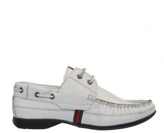 Мъжки обувки от естествена кожа бели IAZM-10297