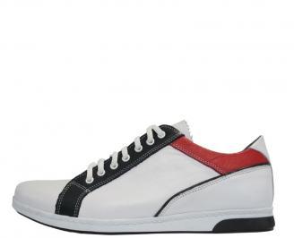 Мъжки обувки от естествена кожа спортни бели TLLW-10047