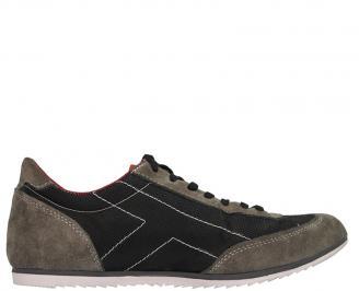 Мъжки обувки от естествена кожа спортни сиви WVNL-10058