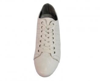 Мъжки обувки от естествена кожа спортни бели MICN-10068