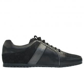 Мъжки обувки спортни естествена кожа черни HUPO-10125