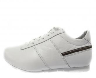 Мъжки обувки спортни естествена кожа бели PSWC-11891