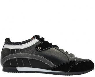 Мъжки обувки спортни естествена кожа черни VFJU-10036