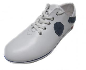 Мъжки обувки спортни естествена кожа бели FAIH-13935