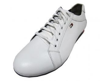 Мъжки обувки спортни естествена кожа бели VDYA-15723