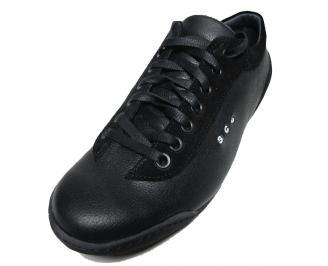 Мъжки обувки спортни естествена кожа черни QDRT-15779