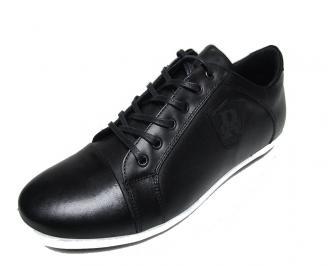 Мъжки обувки спортни естествена кожа черни DCNQ-15784