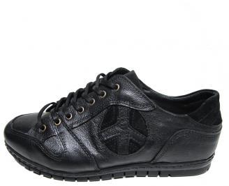 Мъжки обувки спортни естествена кожа черни VBYU-15801