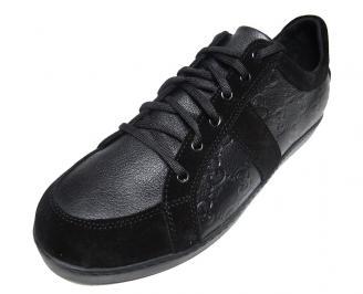 Мъжки обувки спортни естествена кожа черни QAAG-15829