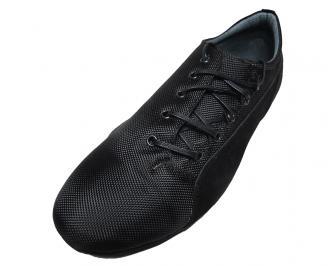 Мъжки обувки спортни естествен велур/ текстил черни KBLI-15845
