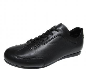Мъжки обувки спортни естествена кожа черни KQCP-17539