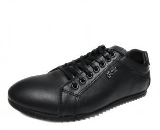 Мъжки обувки спортни естествена кожа черни ACAG-17545