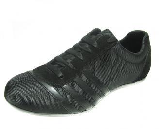 Мъжки обувки спортни от естествен велур/текстил черни PEQS-14402