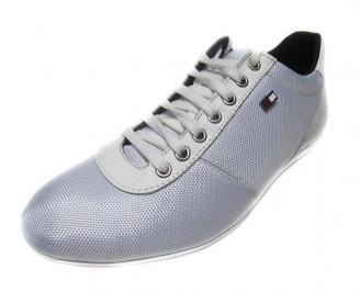 Мъжки обувки спортни от естествена кожа/текстил бели VXXO-14455