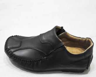 Мъжки обувки тип Мокасини от естествена кожа черни WZAT-23495