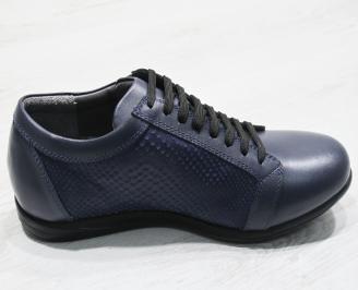 Мъжки обувки тъмно сини естествена кожа QHWW-23723