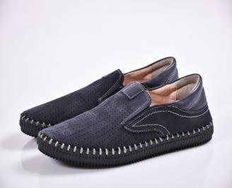 Мъжки обувки тъмно сини естествен набук TWLJ-24292