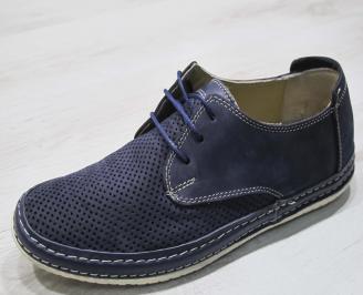 Мъжки обувки тъмно сини естествен набук EJQK-24295