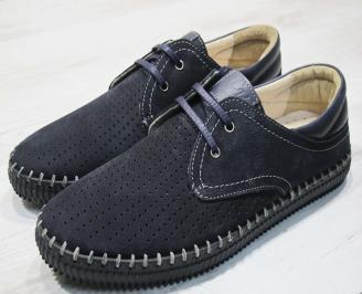 Мъжки обувки тъмно сини естествен набук ZXQY-24305
