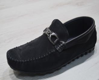 Мъжки обувки тъмно сини естествен набук