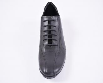 Мъжки официални обувки естествена кожа черни LEMP-1010659